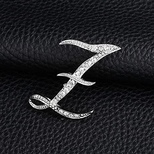 KLHHG Carta de la Moda Broche Lindo para Las Mujeres Hombres Rhinestones Color de Plata Pines Metal Pins Camisa Accesorios de joyería (Color : Z)