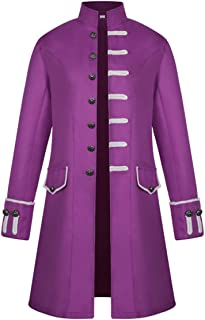 Zhhlaixing Mens Vintage Tailcoat Jacket Gothic Victorian Medieval Coat Cosplay Party Outwear Halloween Uniform Costume