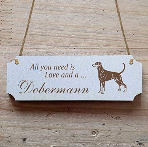 Schild « DOBERMANN » 15 x 5 cm - Dekoschild Holzschild Türschild - Hund Haustier