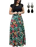UUAISSO Donna Vestiti Eleganti Lunghi Floreale Casuale Abito Maxi Manica Corta Abiti Vestito da Cocktail Banchetto Sera H-Foglia Verde-Manica Corta M