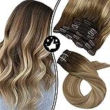 Moresoo 20 Zoll/50cm Balayage Clip in Hair Extensions Echthaar 7 Tressen Haarfarbe #3 Brown Fading to #8 Hellbraun and #22 Blond Hochwertige Glatt Remy Echthaar Haarverlängerung 100gramm
