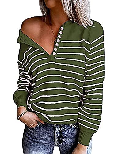 MAYFASEY Jersey de punto de manga larga para mujer, cuello en V, con botones, para otoño, informal, Brazalete verde, XXL