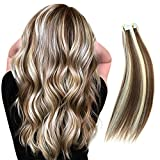 RINBOOOL Highlighted Tape in Hair Extensions, 14'' 40g, Real Natural Remy, 2 Tone Piano Color, Platinum Blonde Highlighted Medium Brown