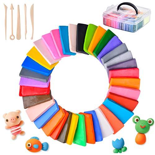 Funkprofi Kinderknete Set, 36 Farben Polymer Ton, DIY Weich Handwerk Ton Set mit Modellierwerkzeugen und Zubehör, Weich und Ungiftig, Geschenk und Spielzeug für Kinder