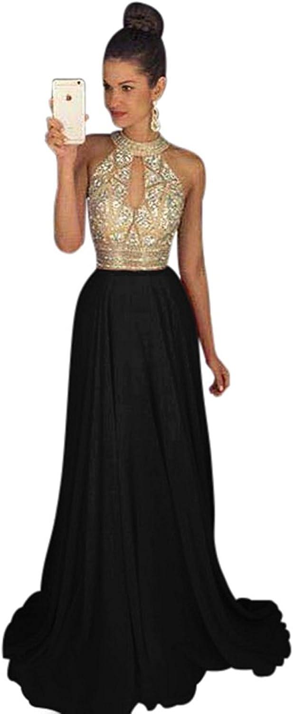 Ellystar Women's Luxury Halter Beaded Sleeveless Long ALine Prom Party Dresses