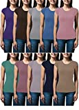 Sexy Basics Women's 5 Pack & 10 Pack Casual & Active Basic Cotton Stretch Color T Shirts (10 Pack - Wow Solid Blast, Medium)