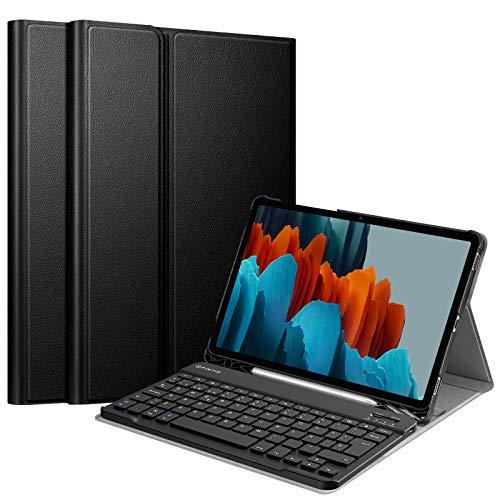 FINTIE Funda con Teclado Español Ñ para Samsung Galaxy Tab S7 11' 2020 (SM-T870/T875) - Carcasa con Portalápiz para S Pen y Teclado Inalámbrico Magnético Desmontable, Negro