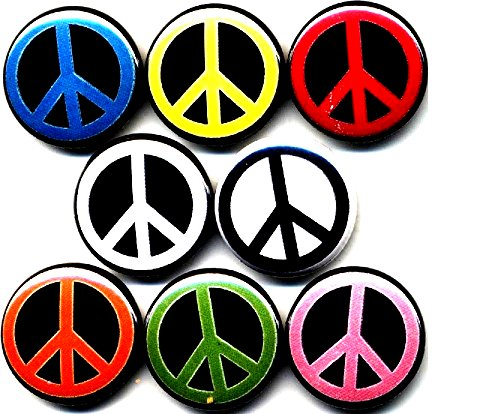 Peace Signs 8 New 1' inch (25mm) Buttons pins Badges World Love Anti-war no Hippie Woodstock …