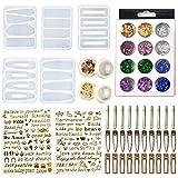 45 horquillas hechas a mano, hechas a mano, con forma de horquilla antiadherente, resina, juego para niñas