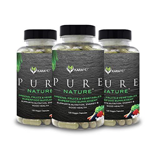 KaraMD Pure Nature | Greens, Fruit & Vegetable Whole Food Health Supplement | Vitamins, Fiber & Antioxidant Superfood Nutrition Formula | Improve Energy, Digestion, Immunity & Wellness (3-Unit Pack)