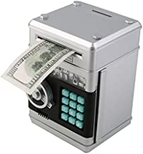 Stylebeauty Electronic Password Piggy Bank Cash Coin Can Money Locker Auto Insert Bills Safe Box Password ATM Bank Saver Birthday Gifts for Kids ( Silver )