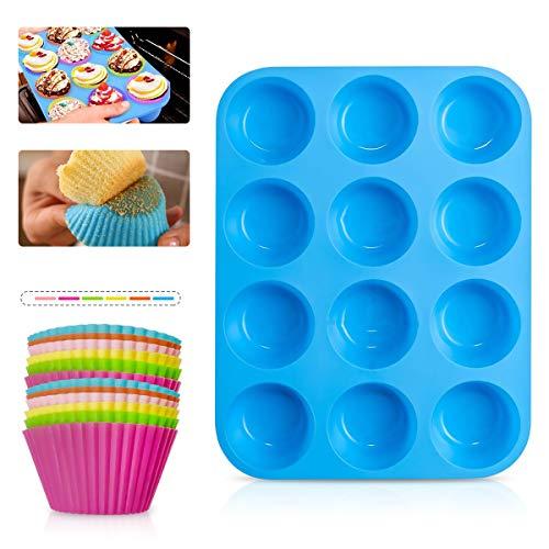 Vockvic Stampo Muffin in Silicone, 12 Pezzi Mini Stampi per Muffin Cupcake riutilizzabili con Rivestimento Antiaderente, Multifunzionale Durevole Blu Teglia Muffin, per Biscotti Torte Budini