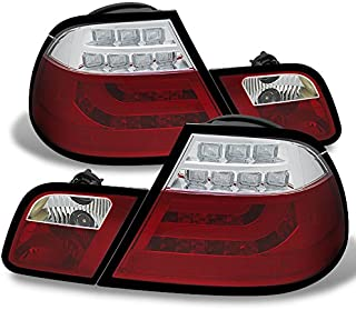 For 04-06 BMW E46 3-Series 2 Doors Coupe Red Clear Light Tube Design LED Tail Lights Brake Lamps Pair