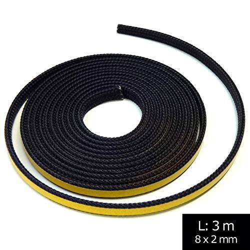 Junta para chimenea, 3 m, diámetro 8 x 2 mm, cordón plano autoadhesivo. Apto para diferentes modelos de chimenea Oranier.