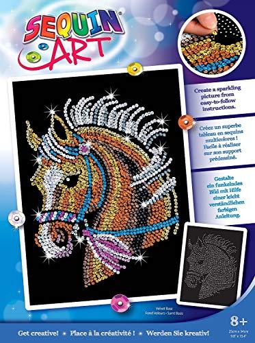 MAMMUT 8041517 - Sequin Art Paillettenbild Pferd, Steckbild, Bastelset mit Styropor-Rahmen, samtige Bildvorlage, Pailletten, Steckstiften, Anleitung, für Kinder ab 8 Jahre