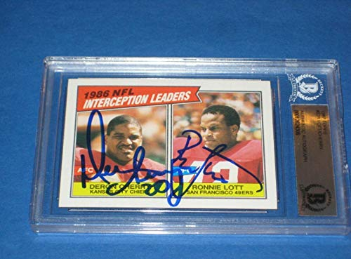 DERON CHERRY & RONNIE LOTT Signed 1987 TOPPS Card #231 Beckett Authenticated - NFL Autographed Football Cards