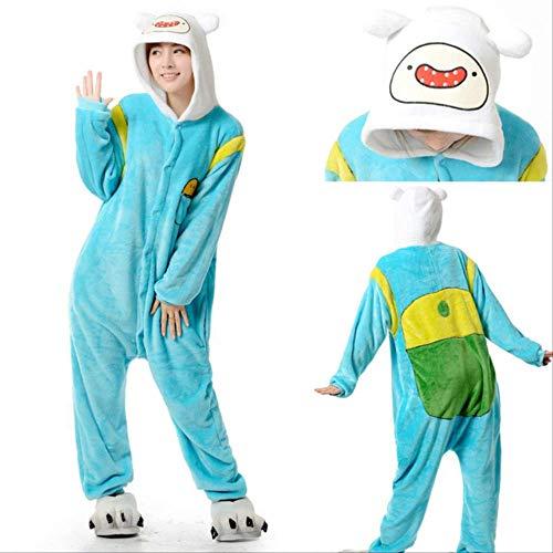 AYJMA Disfraz de Aventura de Finn y Jake para Adultos, Pijama de Perro Amarillo, Monos de Fiesta de Halloween de Animales, Kigurumi L Finn