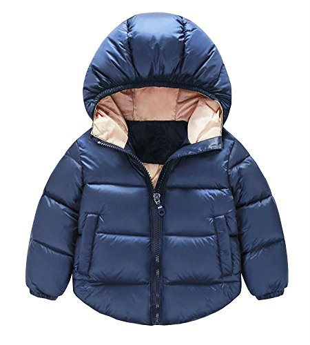 Toddler Baby Boys Girls Outerwear Hooded coats Winter Jacket Kids Clothes, 6-12 Months, Dark Blue
