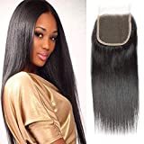 Selina Hair 4x4 Closure Brazilian Straight Lace Closure Human Hair Free Part Soft And Silky Natural Hair Color...