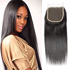 "1.Material: 4""×4"" free part lace closure straight, unprocessed virgin human hair lace closure. , Full cuticle, no shedding, tangle free. 2. Lace Details: Medium brown swiss lace, hand tied 3.Texture: silky straight free part. 4.Advantage:Has own fact..."