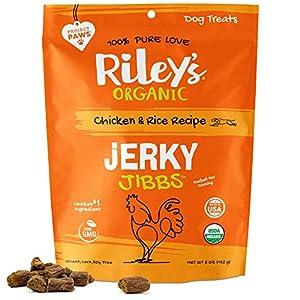 Riley's Organic Dog Training Treats – Chicken Dog Jerky Treats Chicken & Rice Bite Sized Soft Jerky Treats for Dogs – Great for Small & Large Breeds – Jibbs – 5 oz