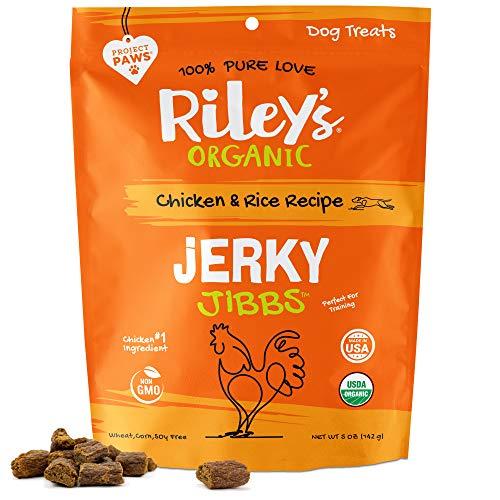 Riley's Organic Dog Training Treats - Chicken Dog Jerky Treats Chicken & Rice Bite Sized Soft Jerky Treats for Dogs - Great for Small & Large Breeds - Jibbs - 5 oz