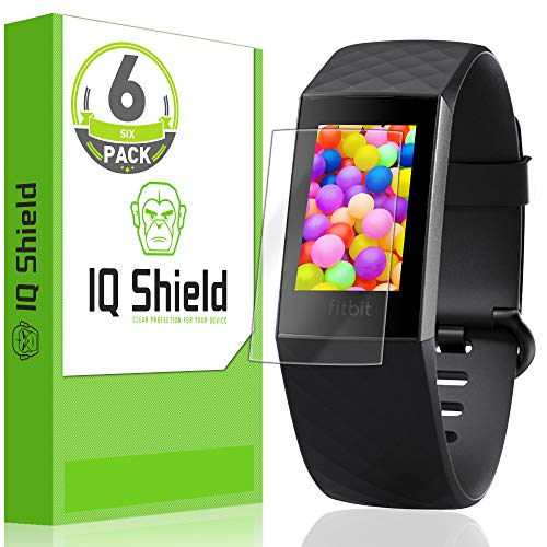 IQ Shield Screen Protector Compatible with Fitbit Charge 3 (Fitbit Charge 4)(6-Pack) Anti-Bubble Clear Film
