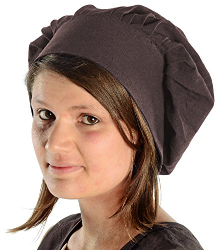 HEMAD Bonnet médiéval pour Femme - avec Assiette et Cravate - Coton Pur – Brun