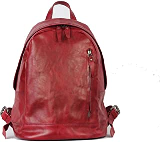 Mens Leather Bag Vintage Leather Backpack Backpack Leather Unisex Fashion Trend Leisure Travel Shopping Bag (Color : Red, Size : S)
