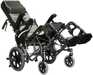 Karman Healthcare VIP-515-TP-18 Foldable Tilt in Space Space Reclining Transport Wheelchair, Diamond Black, 14