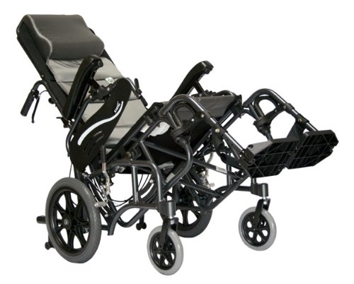 """Karman Healthcare VIP-515-TP-18 Foldable Tilt in Space Space Reclining Transport Wheelchair, Diamond Black, 14"""" Rear Wheels and 18"""" Seat Width"""