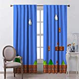 YZDAJIBA Decoración de imagen de cortina opaca 3D Mundo de juego de dibujos animados con bloques y setas. 170*200 CM Cortinas con ojales grises súper suaves para dormitorio, paneles reductores de rui
