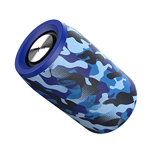 JIE. Altavoz Bluetooth portátil, Rango de Bluetooth 10M, 7H Tiempo de Juego, micrófono Incorporado,Camouflage~Blue