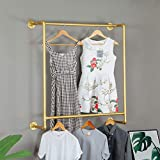 Ethemiable 39' L-Industrial Modern Metal Wood Clothing Store Display Stands,Wall Mounted Garment Rack, Double Pole Hanging Storage Clothes Shoe Bag Pipe Shelf, Home Bookcase Towel Bars (Gold)
