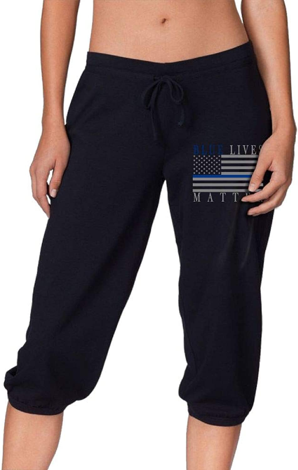 Pantsing bluee Lives Matter Women's Fit Active French Terry Capri Pants