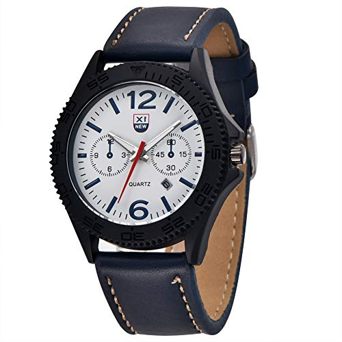 SJXIN Stilvolle Uhr XINEW Marke Uhren Männer Leder Datum Geschenk Quarz-Armbanduhr Modeuhren (Color : 5)