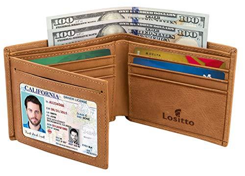 Men's Bifold Wallet - RFID Blocking Cowhide Leather Vintage Travel Wallet (Tan brown-Vintage top grain leather)