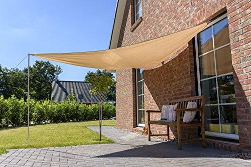 Oxid7® Sonnensegel 3,6 x 3,6 x 3,6m wasserabweisend Sonnenschutz UV-Schutz beige