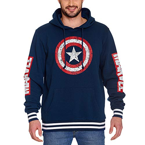 Elbenwald Capitán América Hoodie Shield Distressed Logo con Capucha Marvel Azul - M