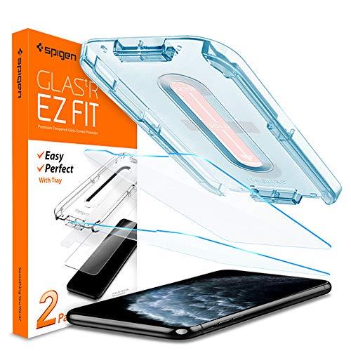 Spigen, 2 Stück, Panzerglasfolie kompatibel mit iPhone 11 Pro, iPhone XS/X, Glas.tR EZ Fit, Schablone für Installation, Hüllenfreundlich, 9H gehärtes Glas, Schutzfolie für iPhone 11 Pro (063GL25358)