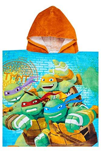 Nickelodeon Toalla de playa con capucha para niños y niñas con diseño de Tortugas Ninja