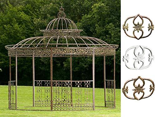 CLP XXL Pavillon Romantik I Runder Pavillion Mit Verzierungen I Garten Rankpavillon Mit Seitenteilen Aus Eisen, Farbe:Bronze