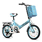 Folding Bikes Faltfahrrad Faltfahrrad Student Tragbares Fahrrad High Carbon Stahl Faltfahrrad Speed Shifting Fahrrad 50,8 cm (Langstreckenfahrt), blau, 51 cm