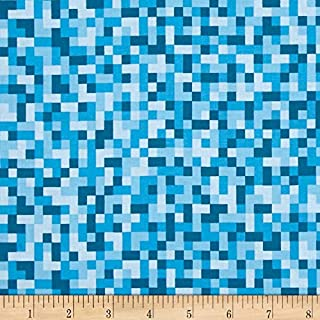 Michael Miller 0430311 Ninja Gnomes Bitmap Blue Fabric by the Yard