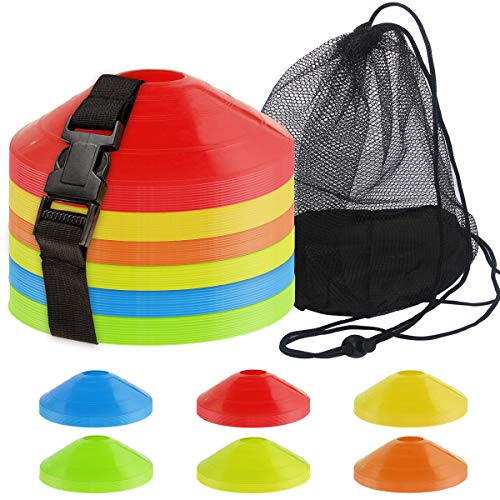 60PCS Sports Soccer Cones Agility Soccer Disc Cones with Carry Strap Carry Bag Training Soccer Cones, Field Marker Cones for Challenge Football Basketball Skating Kids Games Outdoor Indoor Sports