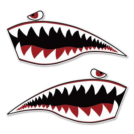 AK Wall Art Warhawk Shark Tiger Vinyl Sticker - Car Window Bumper Laptop - Select Size