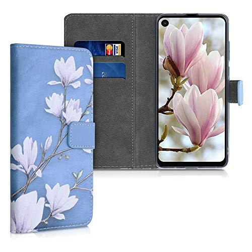 kwmobile Wallet Case kompatibel mit Motorola One Vision - Hülle mit Ständer Kartenfächer Magnolien Taupe Weiß Blaugrau
