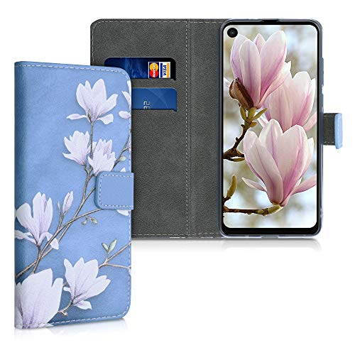 kwmobile Wallet Case Compatible with Motorola One Vision - PU Leather Flip Cover with Card Slots and Stand - Magnolias Taupe/White/Blue Grey