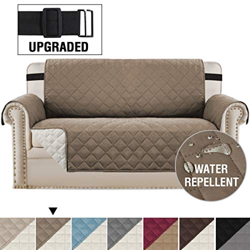"""Loveseat Covers Loveseat Slipcover Reversible Quilted Furniture Protector with Elastic Straps Slip Resistant Furniture Cover for Dogs Seat Width Up to 54"""" (Oversized Loveseat, Taupe/Beige)"""