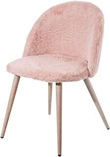 Silla de Pelo tapizada de Microfibra Rosa nórdica para Dormitorio France - LOLAhome